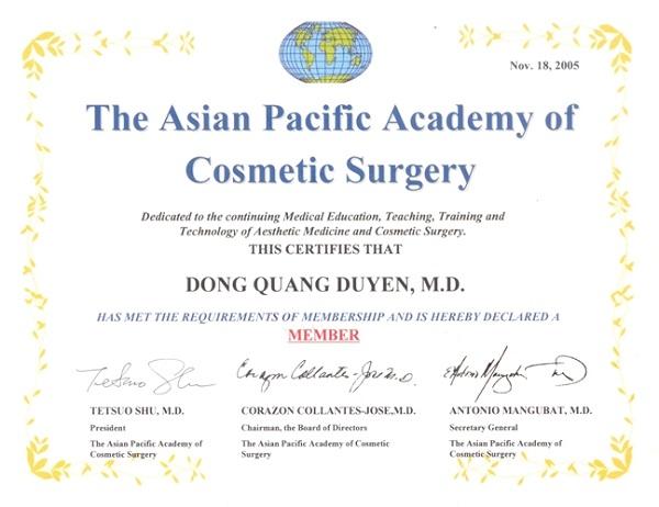 Giấy chứng nhận Bác Sĩ Đồng Quang Duyên